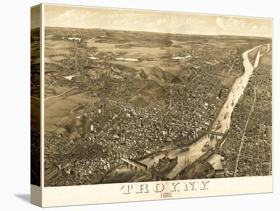 Troy, New York - Panoramic Map-Lantern Press-Stretched Canvas Print