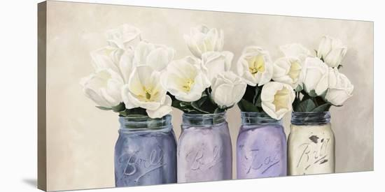 Tulips in Mason Jars (detail)-Jenny Thomlinson-Stretched Canvas Print