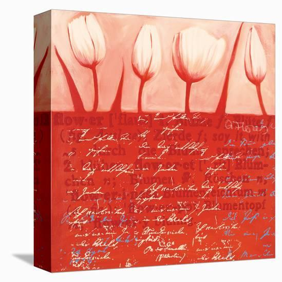 Tulips Parade in Red-Anna Flores-Stretched Canvas Print