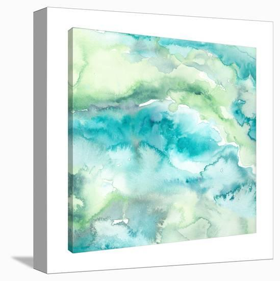 Turquise & Green Watercolor Abstract-Tre Sorelle Studios-Gallery Wrapped Canvas