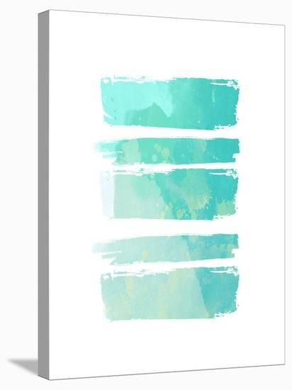 Turquoise Watercolor Brush Strokes--Stretched Canvas Print