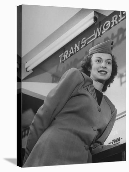 Twa Stewardess Jean Herman at Shannon Airport-Nat Farbman-Stretched Canvas Print