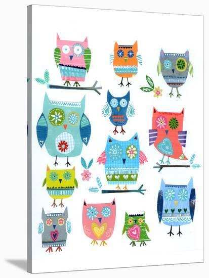 Twelve Collaged Owls--Stretched Canvas Print