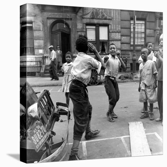 Two Boys Play-Fight While Other Children Look On, Harlem, 1938-Hansel Mieth-Stretched Canvas Print
