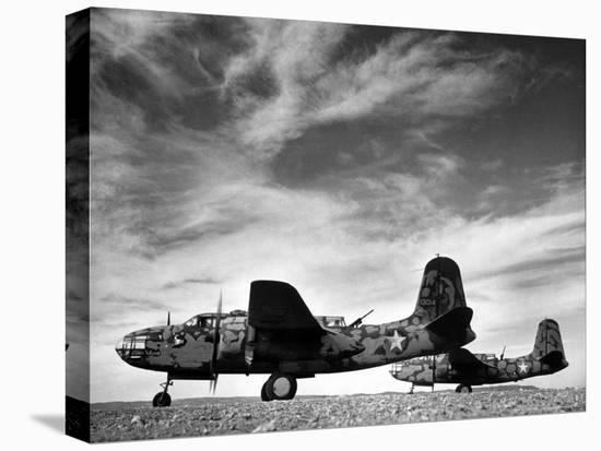Two Camouflaged A-20 Attack Planes Sitting on Airstrip at American Desert Air Base, WWII-Margaret Bourke-White-Stretched Canvas Print
