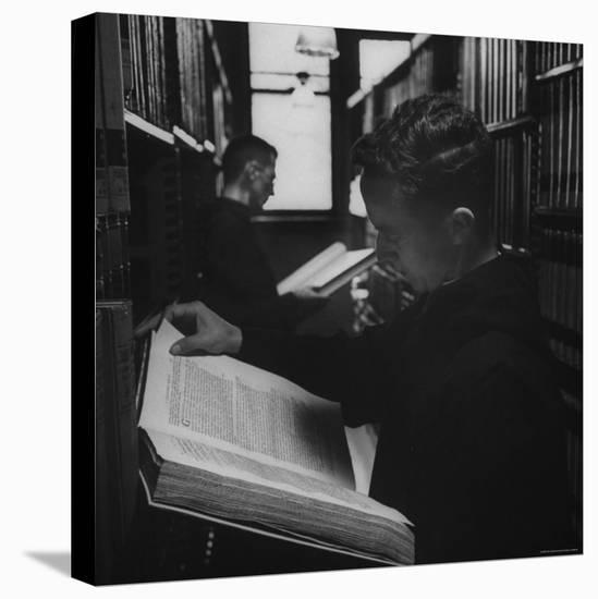 Two Monks in the Library at St. Benedicts Abbey-Gordon Parks-Stretched Canvas Print