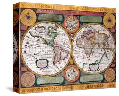 Antique Map, Terre Universelle, 1594-Petro Plancio-Stretched Canvas Print