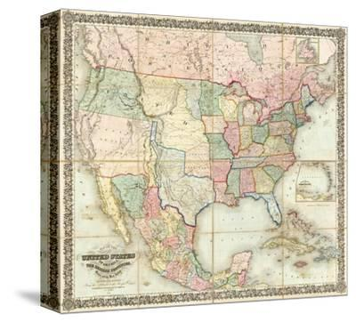 Map of The United States of America, c.1848-J^ H^ Colton-Stretched Canvas Print