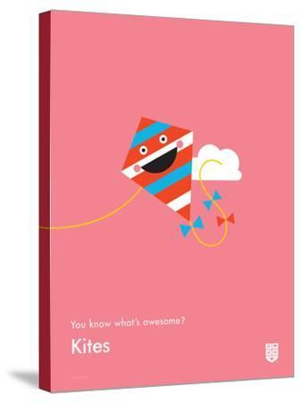 You Know What's Awesome? Kites (Pink)-Wee Society-Stretched Canvas Print