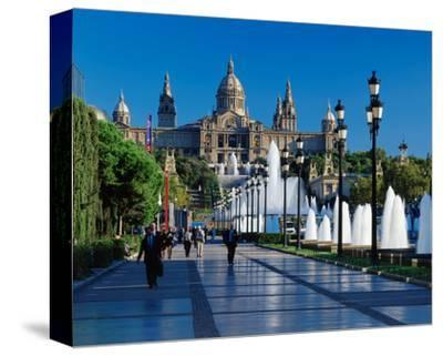 Fountain Natl Museum Barcelona--Stretched Canvas Print