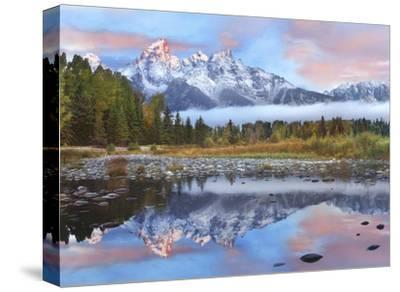 Grand Tetons reflected in lake, Grand Teton National Park, Wyoming-Tim Fitzharris-Stretched Canvas Print