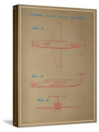 Airplane Blueprint--Stretched Canvas Print