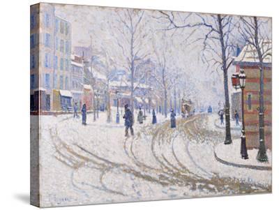 Snow, Boulevard de Clichy, Paris 1886-Paul Signac-Stretched Canvas Print