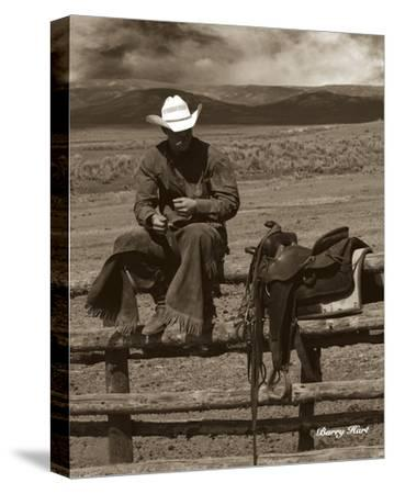 Smokin' Cowboy-Barry Hart-Stretched Canvas Print