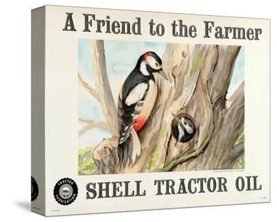 Shell Tractor Oil - Farmer--Stretched Canvas Print