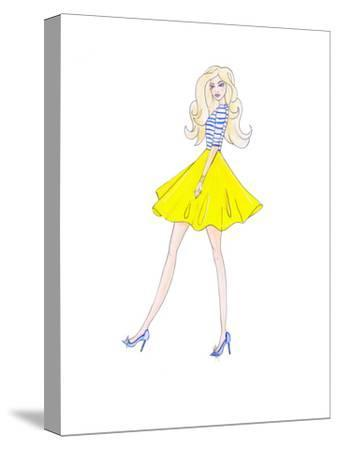Alison Yellow Skirt- Alison B Illustrations-Stretched Canvas Print