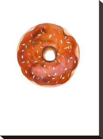 Choc Doughnut- Alison B Illustrations-Stretched Canvas Print