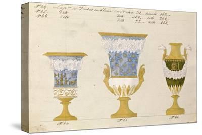 Trois vases en blanc du 1er choix, ca. 1800-1820-Honore-Stretched Canvas Print