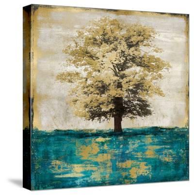 Stately - Aqua with Gold-Eric Turner-Stretched Canvas Print