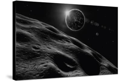 Asteroid Eclipse - Noir-David A Hardy-Stretched Canvas Print