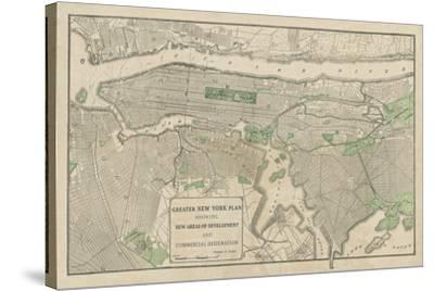 Plan of New York-The Vintage Collection-Stretched Canvas Print