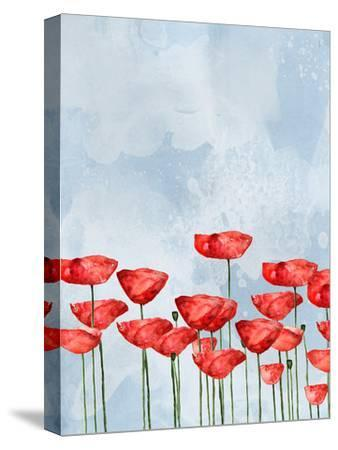 Poppies In Watercolor-Grab My Art-Stretched Canvas Print