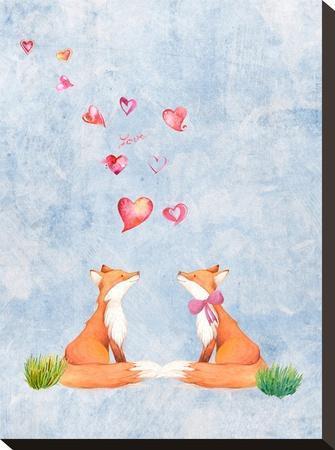 Love Fox Animal 3-Grab My Art-Stretched Canvas Print
