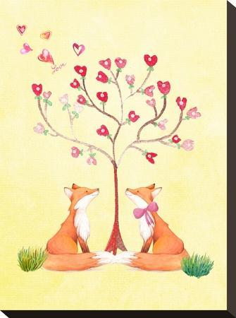 Love Fox Animal-Grab My Art-Stretched Canvas Print