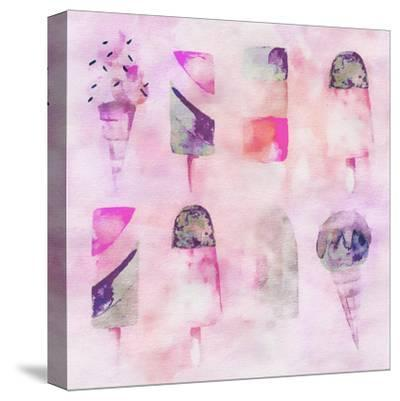 Popsicle Icecream Watercolor - Square 2-Lebens Art-Stretched Canvas Print
