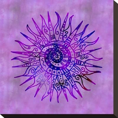 Sun Doodle Purple - Square-Lebens Art-Stretched Canvas Print