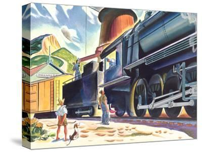 Big Old Train-Found Image Press-Stretched Canvas Print