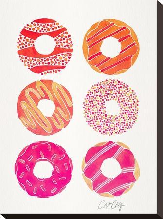 Pink Half Dozen Donuts-Cat Coquillette-Stretched Canvas Print