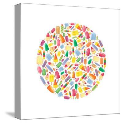 Ice Lolly Circle-Elena O'Neill-Stretched Canvas Print