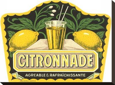 Citronnade Lemon Drink Label-Found Image Press-Stretched Canvas Print