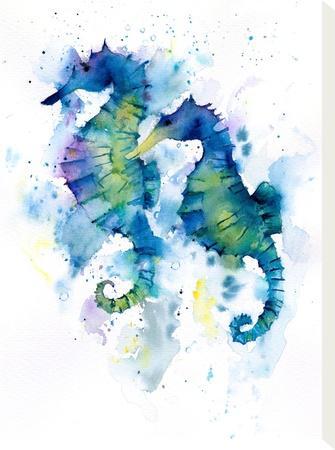 Seahorses-Rachel McNaughton-Stretched Canvas Print