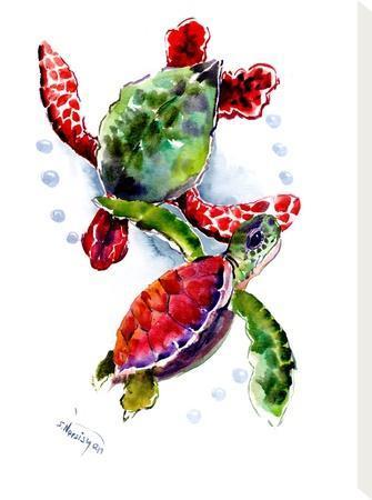 Sea Turtle 10-Suren Nersisyan-Stretched Canvas Print