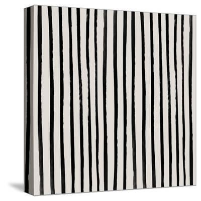 Vertical Black And White Watercolor Stripes-Leah Flores-Stretched Canvas Print