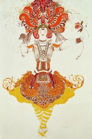 """Ballet Costume for """"The Firebird,"""" by Stravinsky-Leon Bakst-Stretched Canvas Print"""