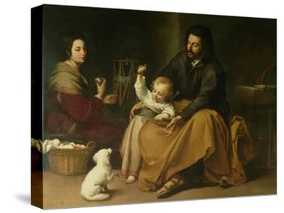 The Holy Family with the Little Bird, circa 1650-Bartolome Esteban Murillo-Stretched Canvas Print