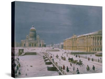 The Isaac Cathedral and the Senate Square in St. Petersburg, 1840s-Paul Marie Roussel-Stretched Canvas Print