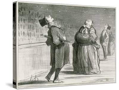Parisians Waiting for the Famous Comet, 1857-Honore Daumier-Stretched Canvas Print