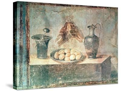Still Life with Eggs and Thrushes, from the Villa Di Giulia Felice, Pompeii--Stretched Canvas Print