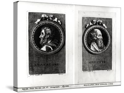 Anaxagorus (500-428 BC) and Epictetus (1st Century) Engraved by S. Beyssent-Claude Reydellet-Stretched Canvas Print