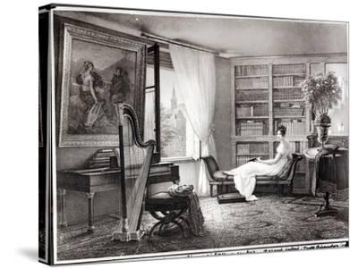 Madame Recamier (1777-1849) at Abbaye-Aux-Bois, 1810-44-Francois Louis Dejuinne-Stretched Canvas Print