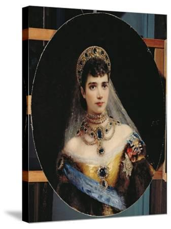 Portrait of Empress Maria Fyodorovna (1847-1928) Dagmar of Denmark-Konstantin Egorovich Makovsky-Stretched Canvas Print