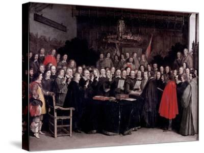 The Swearing of the Oath of Ratification of the Treaty of Munster, 1648-Gerard Terborch-Stretched Canvas Print