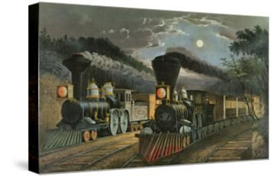 The Lightning Express Trains, 1863-Currier & Ives-Stretched Canvas Print