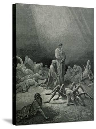 """Arachne, from the 12th Canto of Dante's """"Purgatory""""-Gustave Dor?-Stretched Canvas Print"""