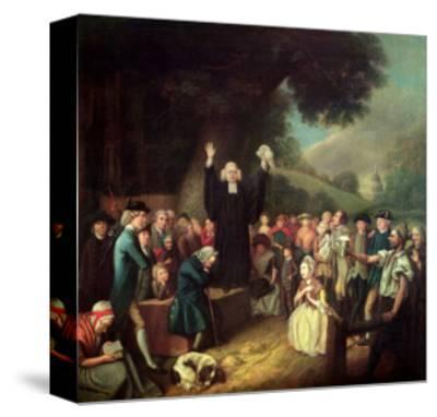 George Whitefield Preaching-John Collet-Stretched Canvas Print