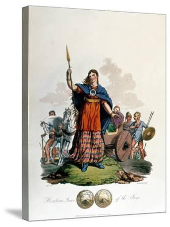 Boadicea, Queen of the Iceni (1st Century), Designed by C. H.S., Aquatinted and Pub. 1815--Stretched Canvas Print